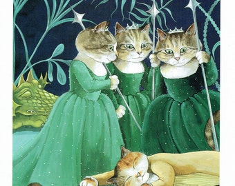 Susan Herbert Cats Three Ladies and a Prince, Fine Art Print, Book Page, Illustration, Wall Decor, Cat Lovers CO4