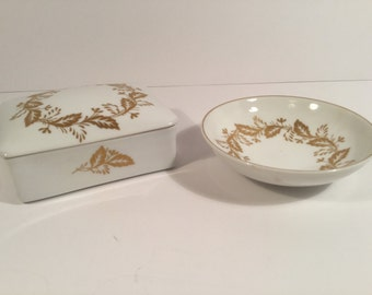 Gold leaf box and saucer