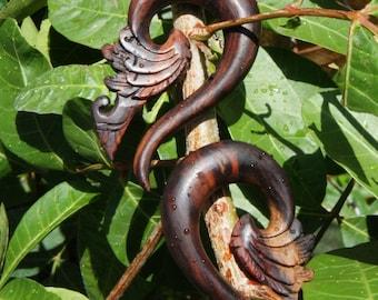 "Dark Sono Wood Tribal Floral Hook Hangers (Pair) 8mm (0g) 10mm (00g) 12mm (1/2"") 16mm (5/8"")"