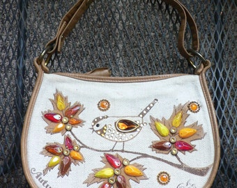 Enid Collins Autumn Song Vintage Purse Bird and Leaves