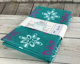 Cotton Fabric, aqua green, Jade green, Teal, duck cotton fabric, hand dyed, hand printed with white & magenta retro pattern, fabric panels