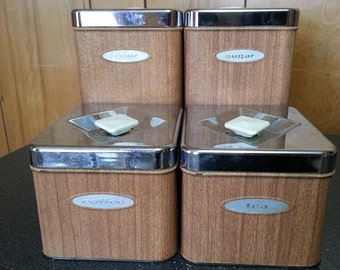 Vintage Canette Faux Wood Metal 4 Piece Canister Set With Lids - Flour, Sugar, Coffee and Tea