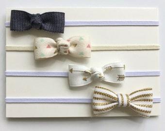 Baby Bow Headband - Gold Bow Headband - Tiny Bow - Baby Headbands - Newborn Headband - Bow Headband Set