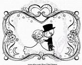 Wedding Romance - DIGITAL STAMP Instant Download