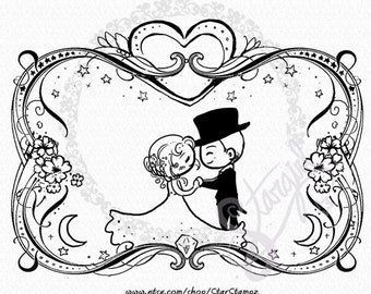 Wedding Romance - DIGITAL STAMP Instant Download