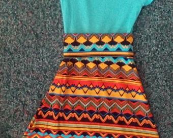 T-shirt Maxi Dress,Tahiti Blue t shirt,yellow and orange geo maxi dress