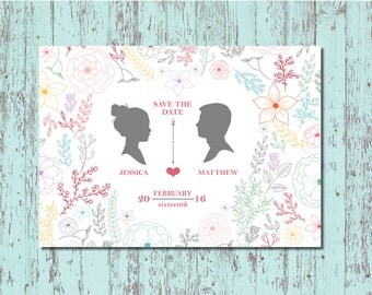 Classic Floral Silhouette Save The Date Postcards - DIY