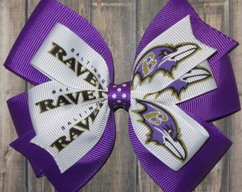 Baltimore Ravens Hair Bow / Ravens Bow / Baltimore Ravens / Football Bow