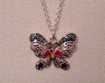Small Vintage Joan Rivers Filigree Butterfly Necklace