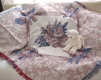 Luxury American double woven Jacquard throw  Rose Bouquet 100% cotton Unused vintage Pink roses cotton blanket Roses picnic blanket throw