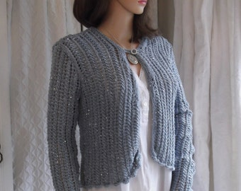Hand Knitted Grey cardigan Hand knit sweater  Hand knitted jacket Grey handknit with silver sequins Lacy handknit  A1115