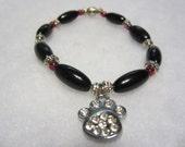 Paw Print Rhinestone Charm Bracelet, Beaded Pet Jewelry, Pet Memorial Bracelet, Pet Lovers Bracelet