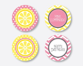 "Instant Download, Pink Lemonade Cupcake Toppers, Lemonade Party Circle, 2"" circles, Pink Lemonade Printables, Lemonade Decoration (SKB.37)"