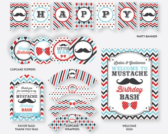 Instant Download, Mustache Party Package, Mustache Birthday Package, Mustache Party Printables, Little Man Party Package, Moustache (SKB.27)
