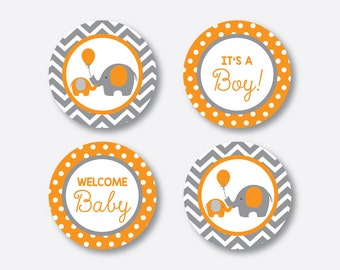 """Instant Download, Elephant Cupcake Toppers, Elephant Party Circle, Orange Gray Chevron Toppers, 2"""" circles, Little Peanut Printable (SBS.39)"""