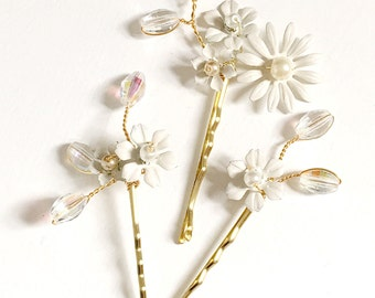 Ivory and Crystal Bridal Hair Pins, Flower Hair Clip set, Trio Pretty Handpainted pins, whimsey Floral Hair Pins,