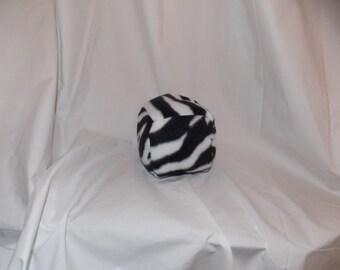 ABDL/Little Soft fleece block with rattle- zebra print
