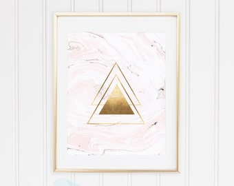 Pink, Marble, Geometric Shapes Triangles, Classic Gold, Rose Gold Foil Wall Art Print, TWO Prints, Printable, Modern Decor, INSTANT DOWNLOAD