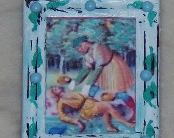 The Good Samaritan Framed Picture.  1:12th Scale Dollhouse decor.