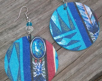 Blue Teal Abstract Earrings, Blue Earrings, Aqua Earrings Absract Earrings