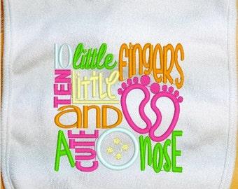 Ten Little Fingers Baby Bib, Ten Little Toes Baby Bib, A Cute Button Nose, Embroidered Baby Bib