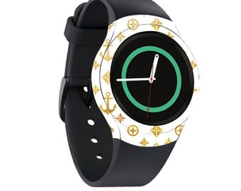 Skin Decal Wrap for Samsung Gear S2, S2 3G, Live, Neo S Smart Watch, Galaxy Gear Fit cover sticker Gold Anchors