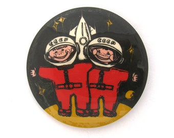 Cosmonauts, Badge, Space, Spacecraft, Cosmos, Rare Soviet Vintage plastic collectible pin, Made in USSR, Soviet Union, 1970s