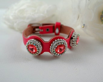 Red pink leather bracelet,Wrap leather bracelet,Bright shiny bracelet,Swarovski bracelet,Snap leather bracelet,boho bracelet,gift for sister
