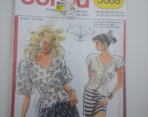 V Neck Top/button down shirt /Boho / sexy/ puffy sleeve blouse/ sewing pattern, Bust 31 32 34 36 38 40, Size 8 10 12 14 16 18, Burda 5688