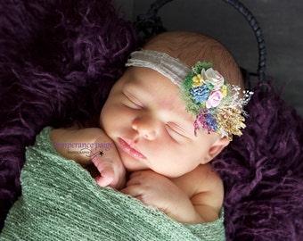 Newborn Flower Tieback, Newborn Photo Prop Tieback, Newborn Headband, Rustic Tieback, Woodland Tieback, Moss Flower Tieback, Organic Tieback