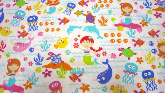 Childrens mermaid cotton fabric by timeless treasures with for Childrens cotton fabric