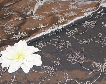 Gorgeous Silver Grey Embroidered Home Dec Taffeta Fabric Destash, F162