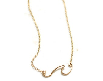 Wave Necklace in Gold or Silver, Ocean Wave Necklace