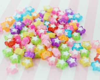 9mm Colorful Kawaii Star Beads - 50 piece set