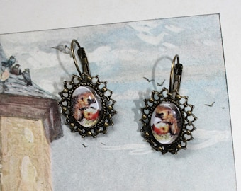 Vintage earrings Hedgehog with Apple