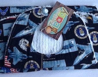 Air force / military / bib and burp cloth set / bib / burp cloth