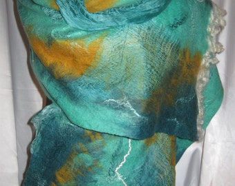Felted scarf. Handmade. Wool, silk, sheep Romney, various curls fibres for decoration.