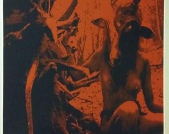 "Baphomet Forest Girl Satanic Worship Poster Full Size 35"" x 24"" Evil Art Devil hell Satan 666"