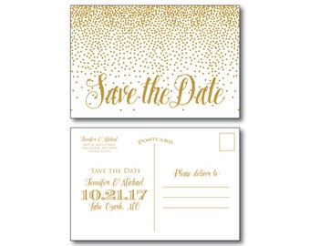 Gold Wedding Save the Date - Gold Wedding - Gold Sparkles - Modern Wedding - Save the Date - Wedding Postcards