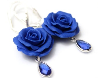 Blue Rose Drop Earrings, Royal Blue flower drop earrings, Blue jewelry, Blue Rose Wedding Earrings, Blue Bridesmaid Jewelry, Bridal Flowers