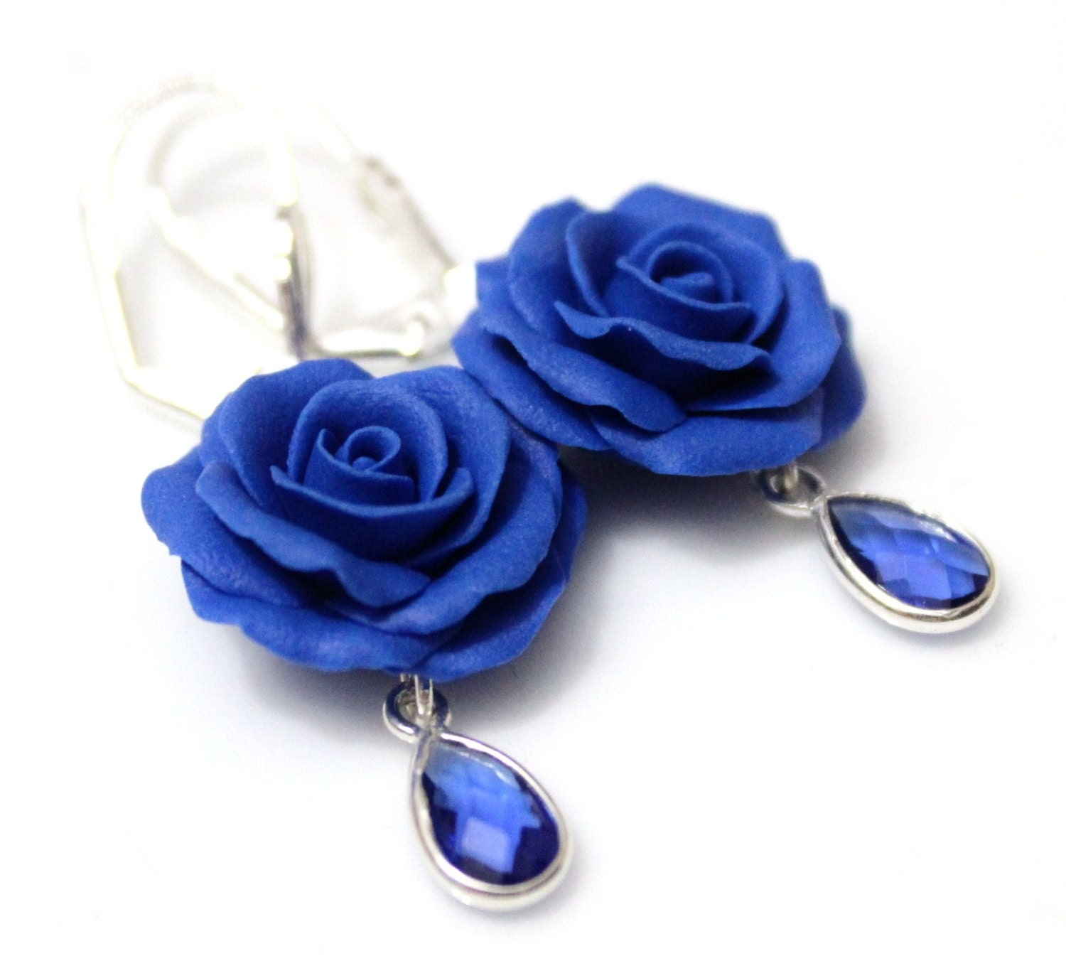 Small Blue Earrings: Blue Rose Drop Earrings Royal Blue Flower Drop Earrings Blue