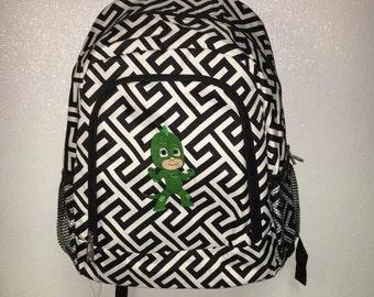 Black Greek Key Pajama Mask Character Full Size Booksack Backpack Bookbag - Ready To Ship
