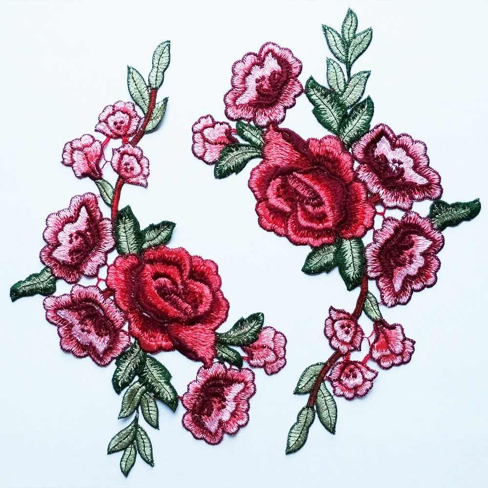 2 Red Rose Appliques Embroidery Flower Patches Costume Design