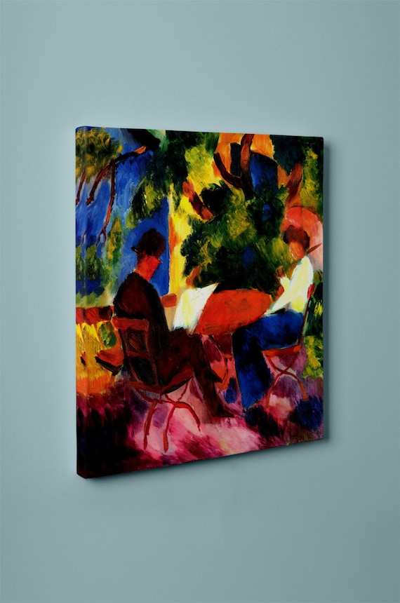 Couple at the Table | Macke Print on Mirror Wrapped Canvas