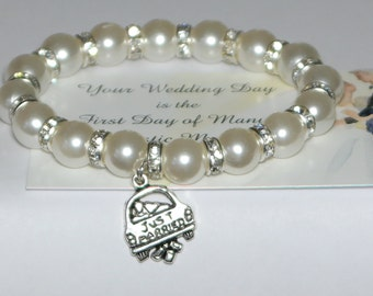 just married - brides bracelet - wedding party - mr and mrs wedding - bridal gift - wedding jewelry - bride tribe - handmade bracelet