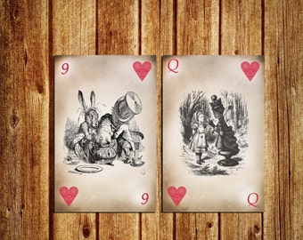 Alice in Wonderland Themed Table Numbers - Playing Card Table Numbers - Alice in Wonderland Playing Card Table Numbers - Digital - Instant