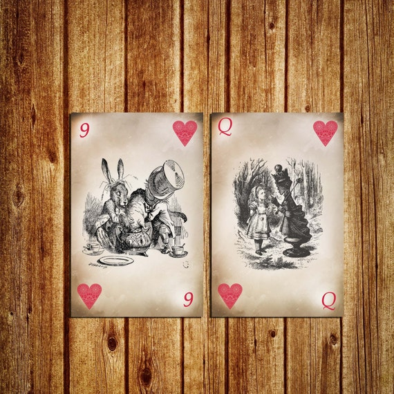 Alice In Wonderland Themed Table Numbers Playing Card Table