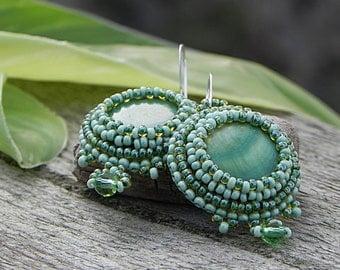 Green Beaded Earrings Beaded Seed Bead Embroidery Jewelry Bright Earrings Green Dangle Earrings Mother of Pearl Earrings Green Cabochons