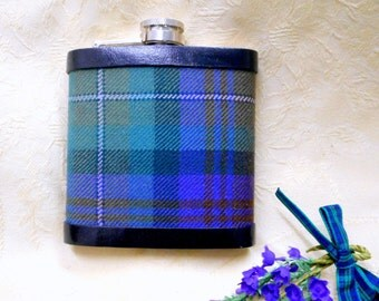 Tartan hip flask Isle of Skye plaid Scottish gift for men made in scotland retirement gift,  best man usher or groomsman ideal for christmas
