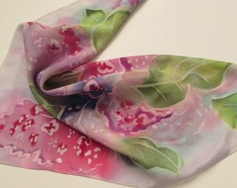 Hand painted silk Crepe de chine scarf. Real 100% silk. 22 x 22 inc. Роспись натурального шелкового Крепдешина.Батик Сирень